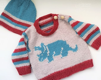 Dinosaur Baby Sweater and Hat Knitting Pattern, Triceratops Dinosaur Jumper for ages up to 2 years, Dino Aran Baby Knitted Outfit