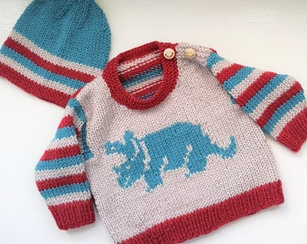 Knitting Pattern - Dinosaur Baby Sweater and Hat, Triceratops Dinosaur Jumper for ages up to 2 years, Dino Aran Baby Knitted Outfit