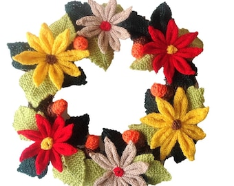 Knitting pattern for Christmas Wreath, Festive Xmas Decoration, pdf digital download