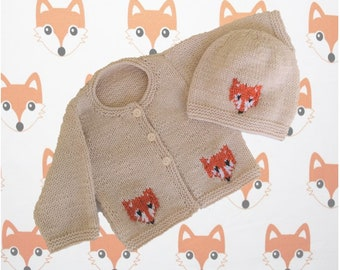 Knitting Pattern for Baby Fox Cardigan and Hat, Fox Jacket and Hat for Boy or Girl, Fox Jacket and Hat in DK, PDF Digital Knitting Patterns
