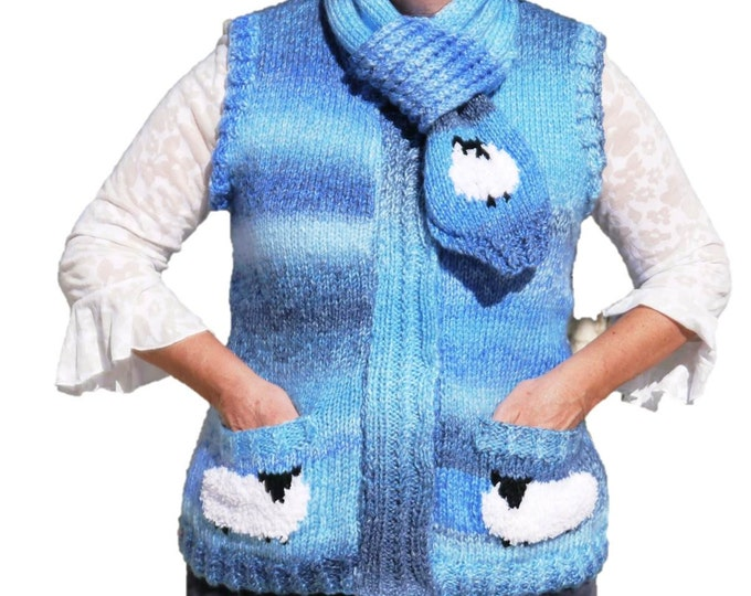 Knitting Pattern for Ladies Sheep Waistcoat and Scarf, Waistcoat and Scarf Knitting Pattern, Chunky Knitting Pattern, Chunky Waistcoat-Scarf
