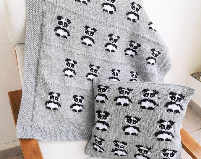Knitting Pattern for Panda Cushion and Blanket, Pillow and Throw with Pandas for the Nursery and Sofa, Home décor knitting patterns