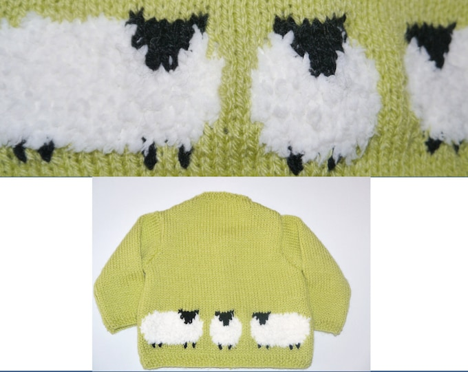 Knitting Pattern for Baby Sheep Jacket and Hat,  Baby Cardigan with sheep, Baby boy and girl knitting pattern, Digital download