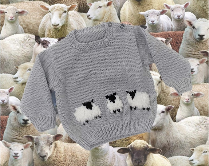 Knitting Pattern for Sheep Baby Sweater and Hat, Aran Worsted Jumper ages up to 2 years,  Baby Knitted Outfit, Trendy Baby Handknit