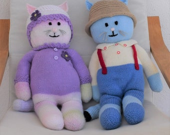 Boy and Girl Cat knitting pattern, Knitted animal toys, Handmade soft toys, Handmade cats, Knitted cats, Knitting pattern for baby toys