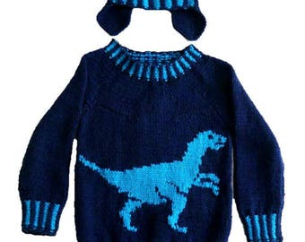 Dinosaur Child's Sweater and Hat - Velociraptor - Knitting Pattern,  Dinosaur Sweater and Hat Knitting Pattern, Dino Knitting Pattern
