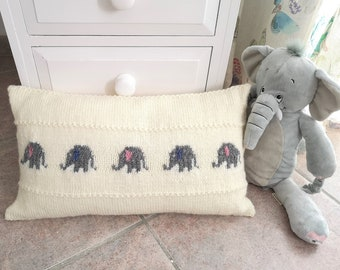 Knitting pattern for a Little Elephant Pillow, Cushion Knitting Pattern with Elephants, Baby Gift, Rectangular Cushion, digital download pdf