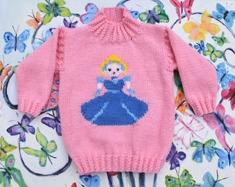Knitting Pattern - Cinderella, Princess sweater & crown, Aran girls sweater knitting pattern,  girls jumper,  Fairytale, Cinderella pattern