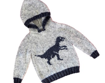 Knitting pattern for boys and girls dinosaur hoodie, Pdf download knitting pattern, Velociraptor Dinosaurs childrens Aran knitting pattern