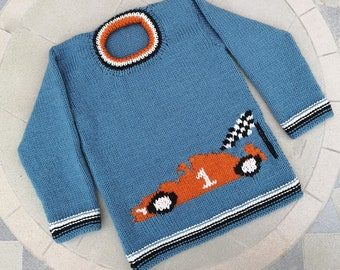 Hand knitted Sweater featuring racing car for age 2-3 years, child's knitted jumper with car, woollen intarsia jumper, boys child's sweater
