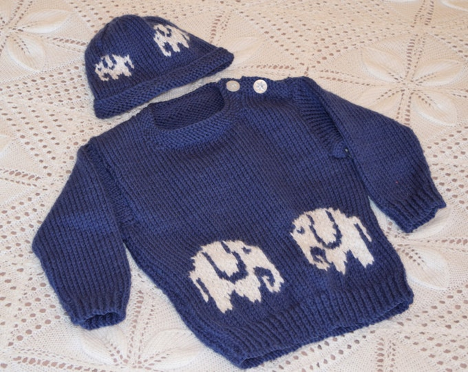 Baby Sweater and Hat knitting pattern with Elephants, Aran Sweater and Hat featuring Elephants, Baby Jumper and Hat set with Elephant motifs