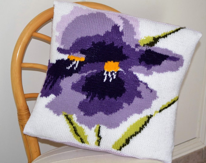 Flower Cushion Knitting Pattern, Pillow Knitting Pattern with Iris, Iris Pillow Knitting Pattern, pdf download for Flower Pattern