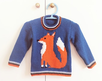 Knitting Pattern for Sweater with a Fox, Fox Jumper Knitting Pattern for Boy and Girl in DK wool, Mr. Fox Intarsia Chart, Digital Download