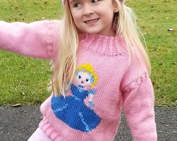 Cinderella knitting pattern, Princess sweater and crown, Aran girls sweater knitting pattern,  girls jumper,  Fairytale, Cinderella pattern