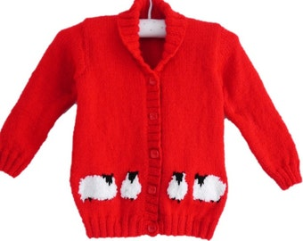 Knitting Pattern for Child Sheep Jacket, Sheep Jacket for Boy or Girl, Sheep on Cardigan for boy or girl knitting pattern