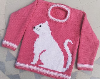 Knitting Pattern - Cat Child's Sweater - Cat motif for Girl and Boys knitting patterns, Double Knitting Design for round necked jumper