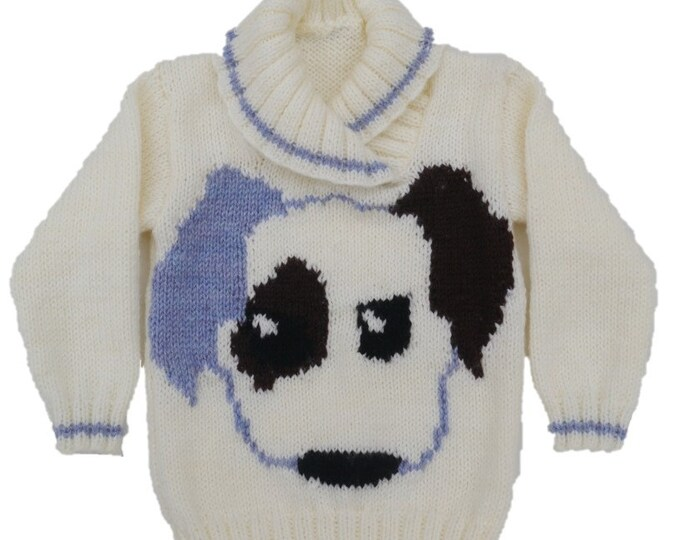Children's Knitting Pattern for a sweater with a Puppy Dog knitted on the front to suit a girl or boy age 1 to 5 years