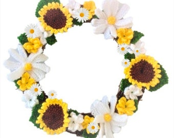 Knitting pattern for Summer Flowers Wreath,  Knitted Daisies and Sunflowers Ring, Everlasting Knitted Flowers, Flower Knitting Patterns