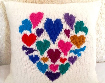 Heart Pillow Knitting Pattern, Hearts Cushion Knitting Pattern, pdf download cushion, Valentine Heart cushion knitting pattern, Hearts, Love