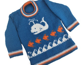 Hand knitted Whale Sweater for age 2-3 years, child's knitted jumper with Sea and Fishes, woollen intarsia jumper, child's ocean sweater