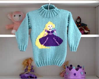 Aran Knitting pattern for girls, Princess sweater and crown, Rapunzel Sweater, Girls knitted sweater, Fairytale sweater, Rapunzel Jumper