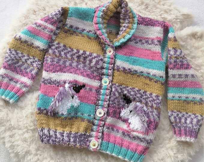 Hand knitted Unicorn Jacket for age 1-2 years, child's knitted cardigan with Unicorns, Unicorn intarsia Jacket with shawl collar