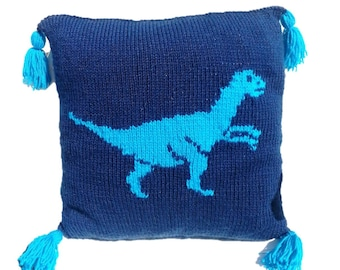 Dinosaur Pillow Velociraptor Knitting Pattern, Pillow Knitting Pattern Dinosaur,  Knitting Pattern, pdf download cushion, Boys knitting