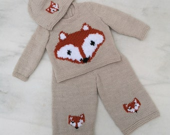 Fox Knitting Pattern for Baby sweater trousers and hat, Fox Jumper and Hat for Boy and Girl, Fox outfit knitting pattern for babies toddlers