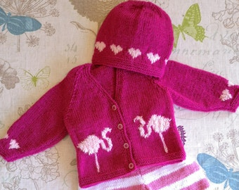 Baby Knitting Pattern for Jacket and Hat with Hearts and Flamingos