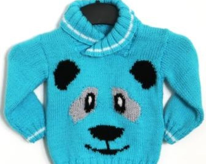 Panda Sweater Knitting Pattern, Sweater Knitting Pattern for Boy or Girl with Panda , Panda Knitted Sweater, Panda Face