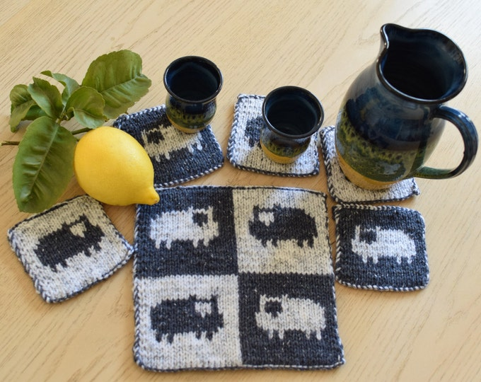 Knitting pattern for sheep table coasters and place setting