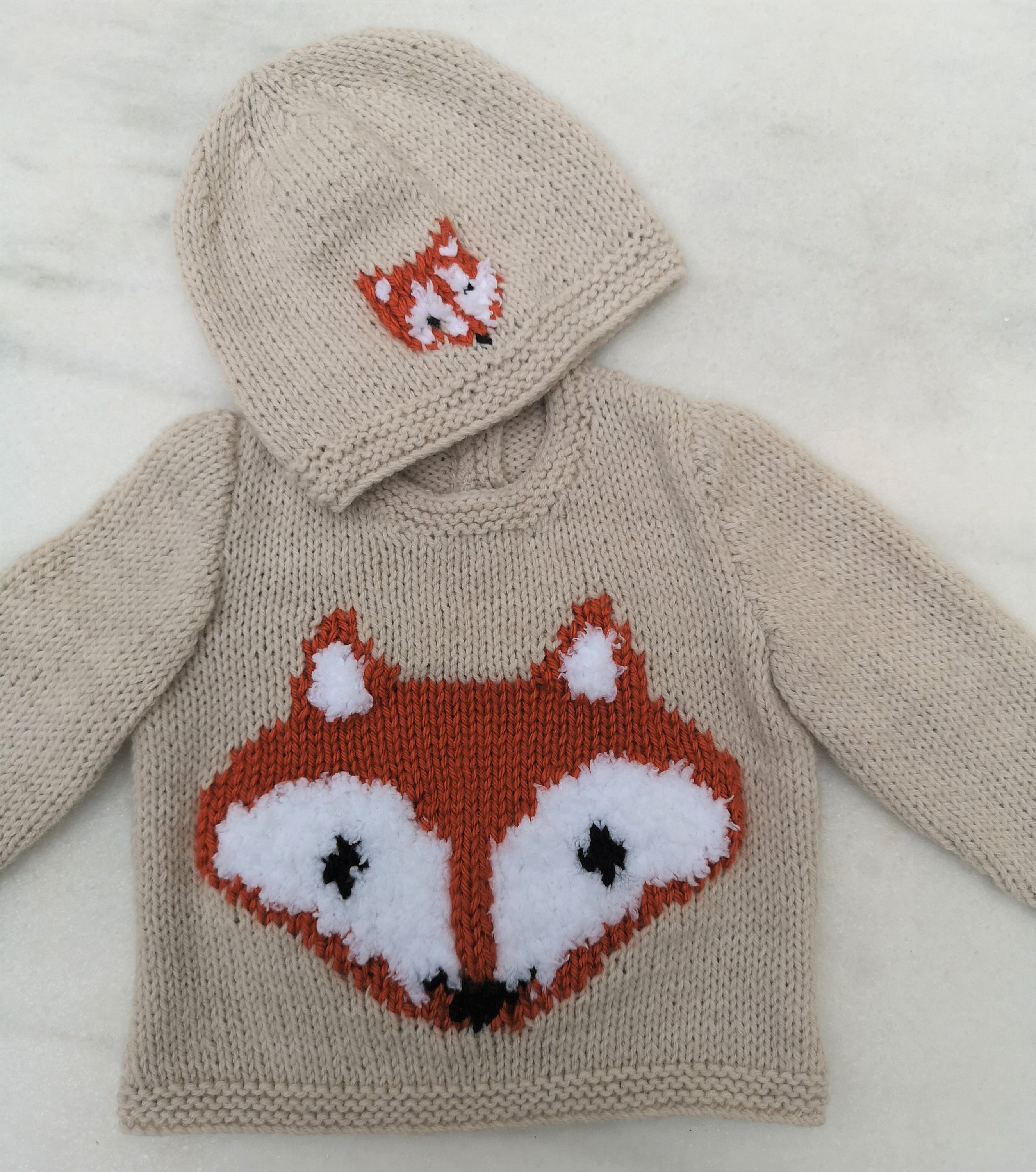 ea481d5ee97a Fox Knitting Pattern for Baby sweater trousers and hat