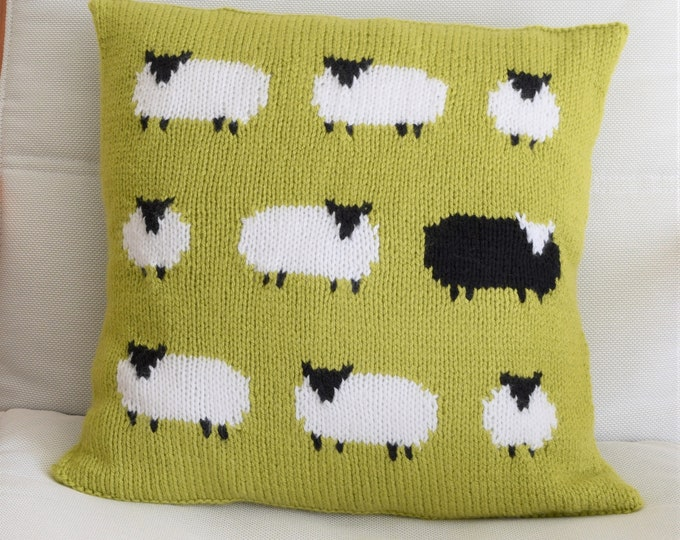 Knitting Pattern for a Sheep Cushion using Aran or Worsted Wool, Pillow with a Flock of Sheep including one Black Sheep, Knitting Patterns