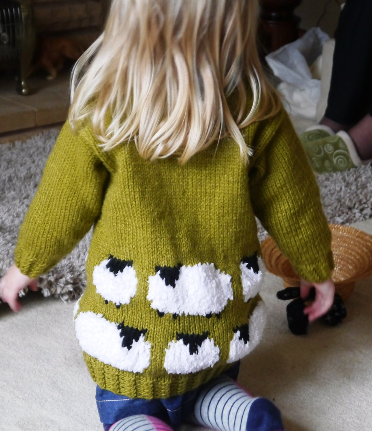 Knitting Pattern for Sheep Child's Sweater and Hat, Sheep