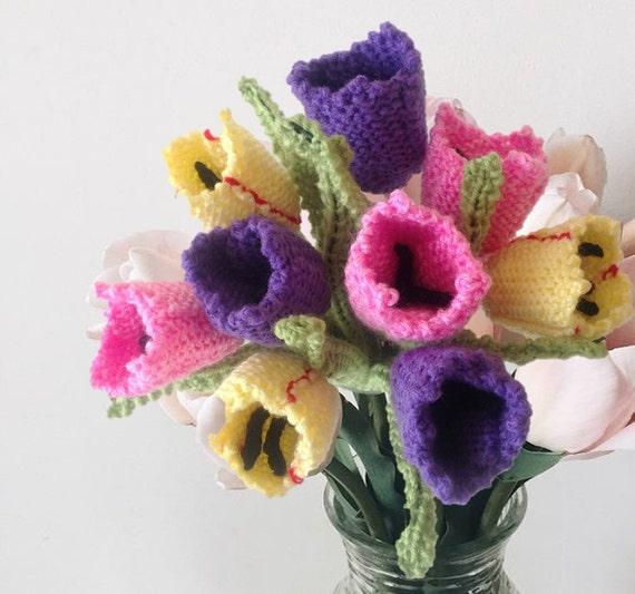Flower Knitting Pattern Knitting Pattern For Tulips Knitted Etsy