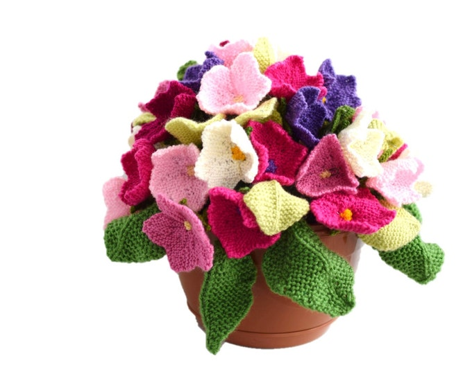 Knitting Pattern for Flowers,Knitted flower arrangement, knitting pattern for flowers and leaves, flower display, flower gift