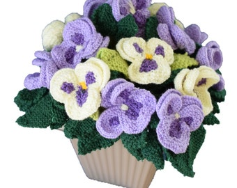 Pot of knitted pansies, knitting pattern for pansies, knitted flowers,  floral display, flower display, flower gift, flower knitting pattern