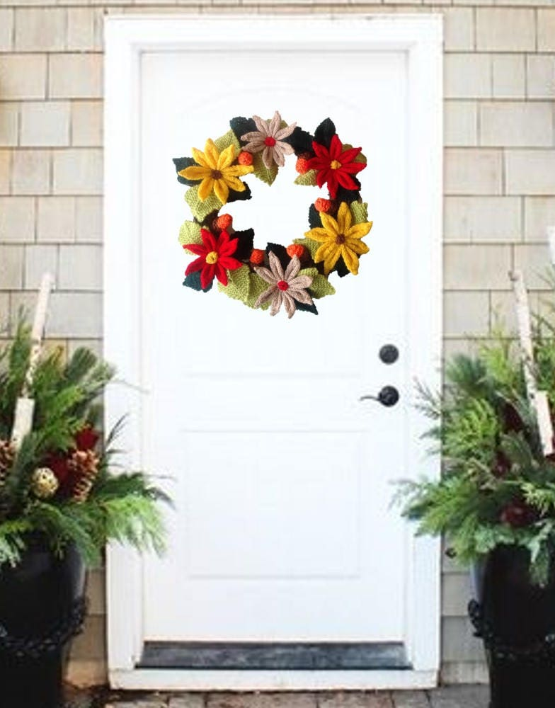 Knitting Pattern For Christmas Wreath Festive Xmas Decoration Pdf