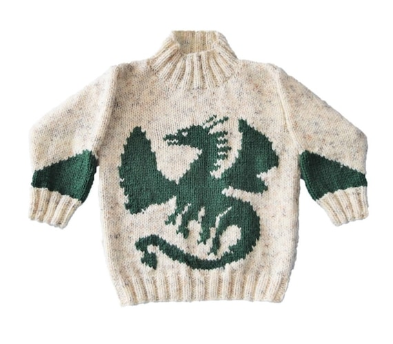 Knitting Pattern For Boys And Girls Dragon Sweater Dragon Etsy