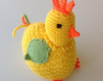 Cock-a-doodle-do Doorstop, knitting pattern for a chicken doorstop in DK yarn.  PDF downloadable pattern