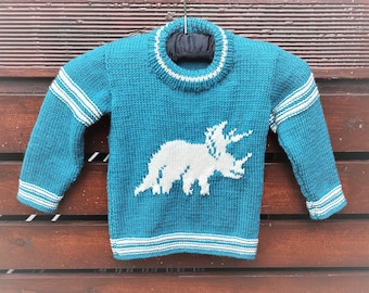 Knitting Pattern - Dinosaur Child's Sweater - Triceratops, Dinosaurs Boys patterns, Double Knitting Design for round necked jumper, Dino