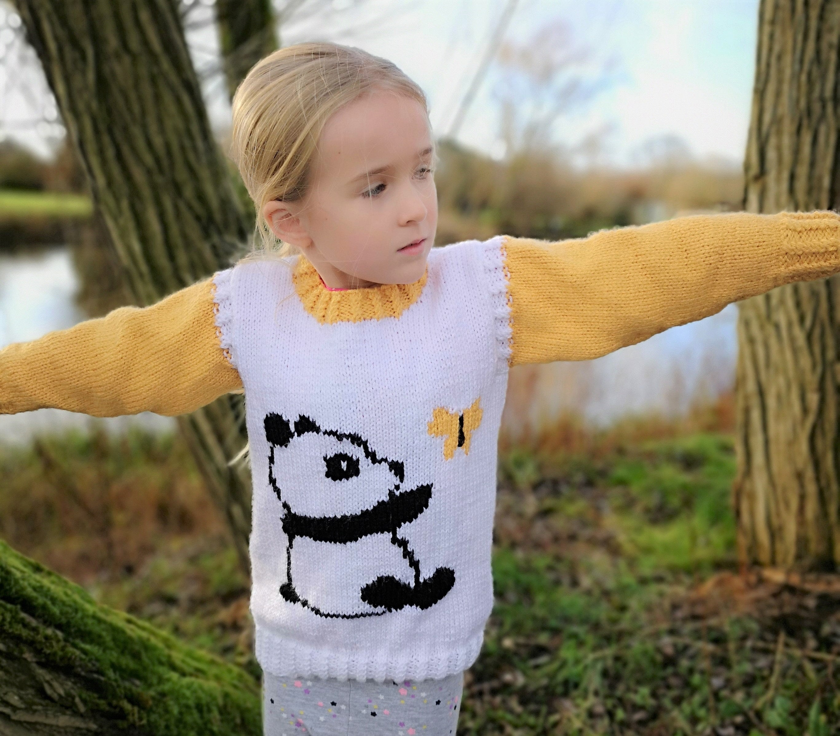 ab89f1b53 Aran Knitting pattern for girls with Panda and Butterfly Sweater and  Mittens