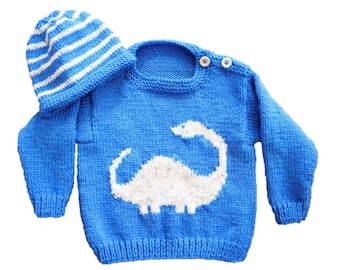 Knitting Pattern for Baby Dinosaur Sweater and Hat, Aran Sweater and Hat Diplodocus, Baby Jumper and Hat set, Baby 10 ply yarn
