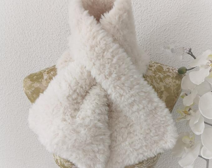 Knitting Pattern - Faux Fur Neck Warmer, Chunky Yarn, 1 ball easy knit, Glamorous Scarf Wrap, Winter Knitting, Digital Pdf Download