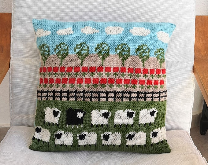 Knitting Pattern - Sheep and Poppies Cushion, Pillow Knitting Pattern with Sheep, Aran Sheep Fields Poppies Trees Sky Clouds Pattern