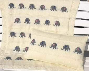 Knitting pattern for a Little Elephant Blanket and Pillow Set, Throw Knitting Pattern matching Cushion, Nursery Knitted Blanket and Pillow