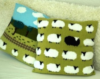 Sheep Cushion Knitting Pattern, Pillow Knitting Pattern with Sheep, Flock of Sheep with one Black Sheep Knitting Pattern, pdf download sheep