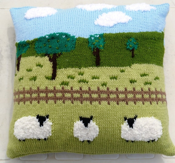 Sheep In The Countryside Cushion Knitting Pattern Pillow Etsy