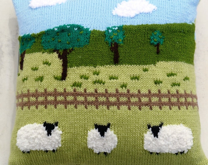 Knitting Pattern for Sheep in the Countryside Cushion, Pillow Knitting Pattern with Sheep, Sheep Fields Fence Trees Sky and Clouds Pattern