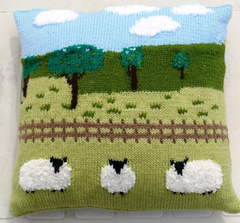 Sheep In The Countryside Cushion Knitting Pattern Pillow Knitting